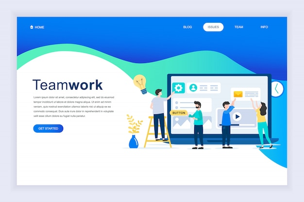 Modernes flaches designkonzept der teamwork für website