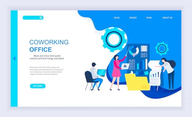 Modernes flaches designkonzept des coworking-büros