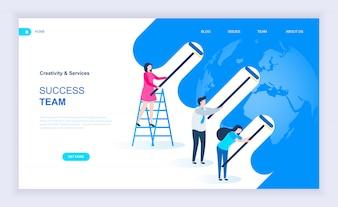 Modernes flaches Designkonzept des Erfolgsteams