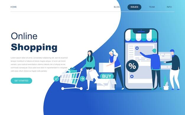 Modernes flaches designkonzept des on-line-einkaufens