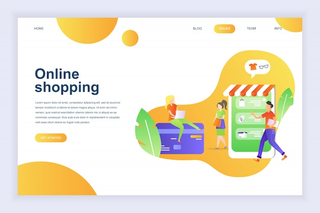 Modernes flaches designkonzept des online-shoppings für die website