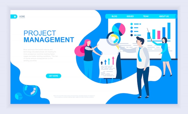 Modernes flaches designkonzept des projektmanagements