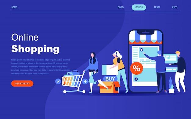 Modernes flaches designkonzept für online-shopping