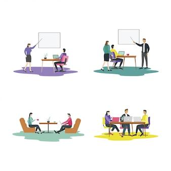 Modernes flaches designkonzept für teamwork-aktivitäten