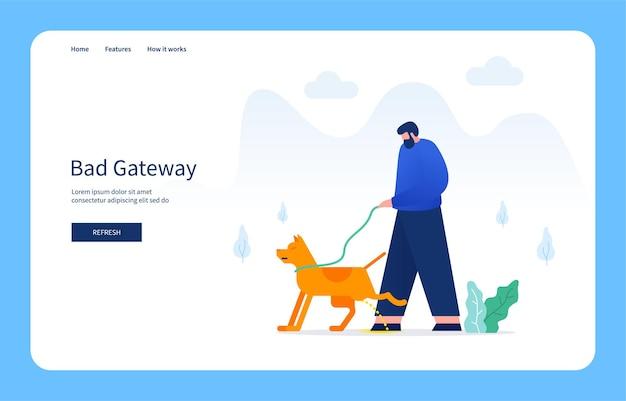Modernes flaches designkonzept mann pinkelt hund bad gateway für websites und mobile websites leeren zustand