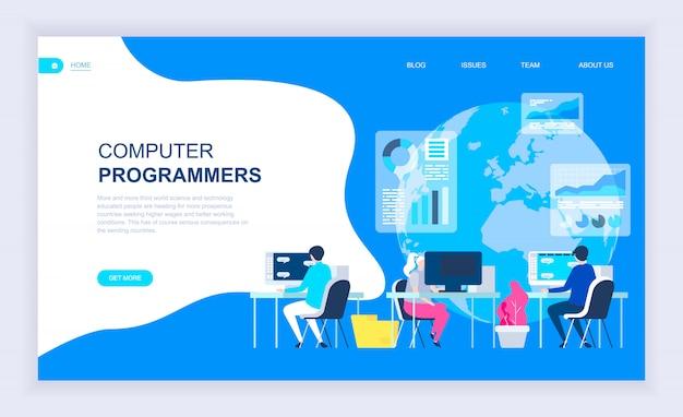 Modernes flaches designkonzept von computerprogrammierern