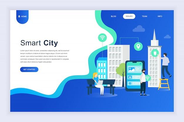 Modernes flaches designkonzept von smart city für website