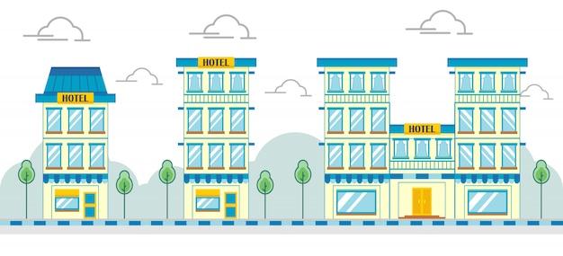 Modernes flaches geschäftshotelgebäude