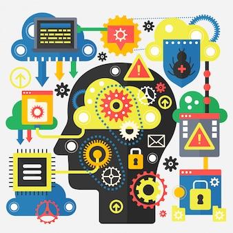 Modernes flaches konzept der big data- und cloud-technologie