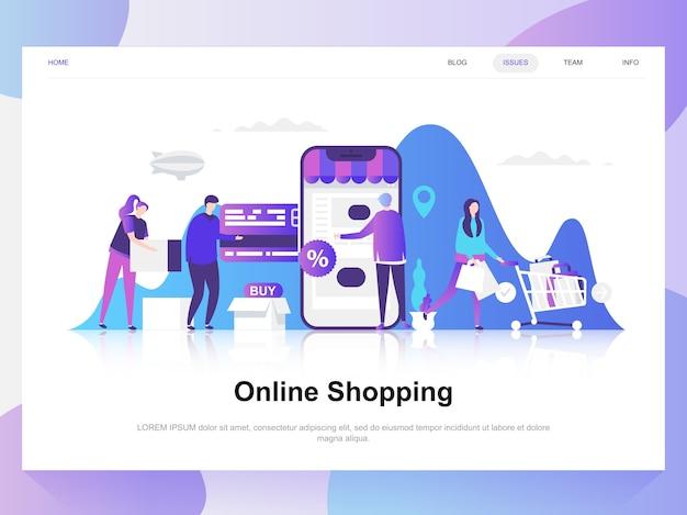 Modernes flaches konzept des on-line-einkaufes.
