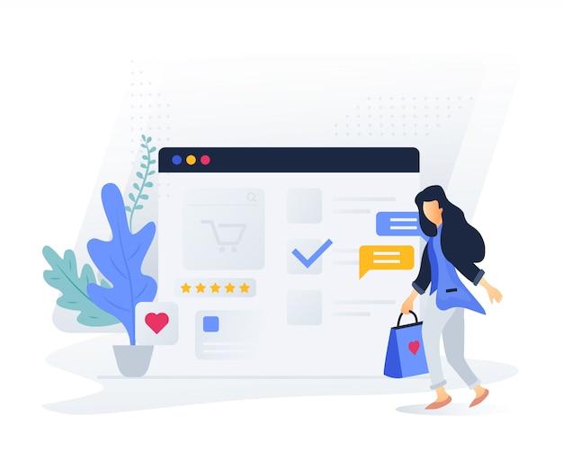Modernes flaches konzept des online-shoppings für website und mobile