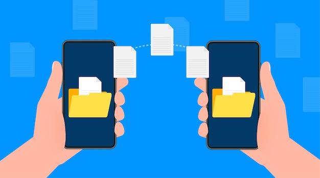Modernes flaches symbol mit dateiübertragung von smartphone zu smartphone auf blauem hintergrund