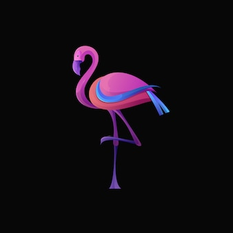 Modernes flamingo-logo mit farbverlauf