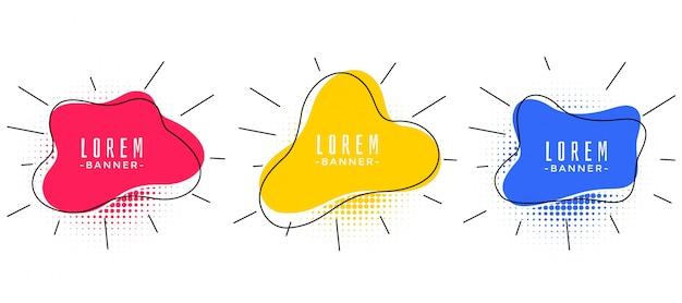 Modernes fließendes banner-set-design des abstrakten memphis-stils