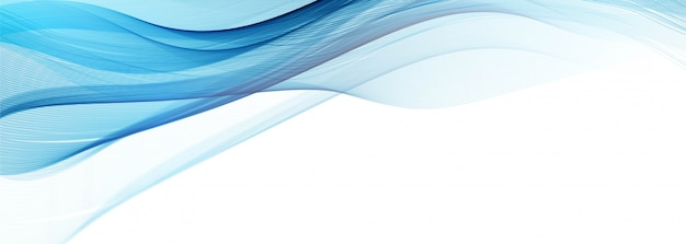 Modernes fließendes blaues wellenbanner auf weißem hintergrund