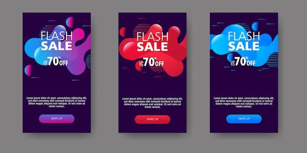 Modernes flüssiges mobile für flash-sale-banner. verkaufsfahnen-schablonendesign, sonderangebotsatz des grellen verkaufs.