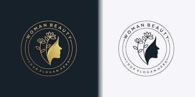 Modernes frauenschönheitslogo mit kreativem emblemlinie kunststil und visitenkarte für schönheitssalon premium-vektor