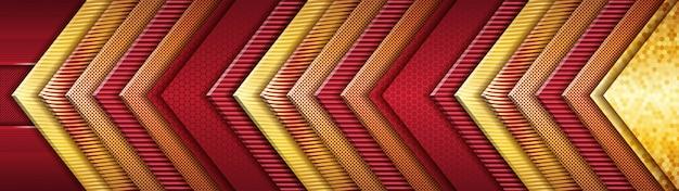 Modernes futuristisches gold und rotes luxusüberlappungsdesign