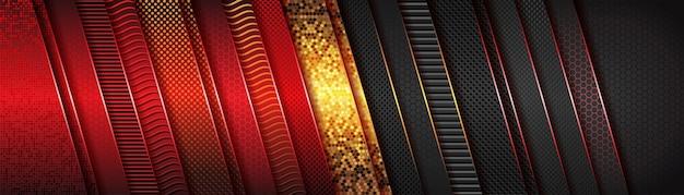 Modernes futuristisches rot und dunkelgrau mit luxuriösem überlappungsdesign in goldmetallicrichtung