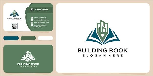 Modernes gebäude bleistift buch logo design-konzept. gebäudelinie kunstbuchlogo mit visitenkarte