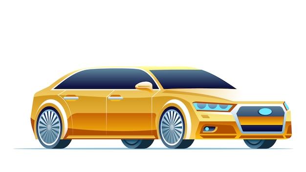 Modernes gelbes auto Premium Vektoren