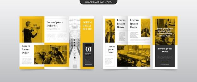 Modernes gelbes dreifach gefaltetes broschürenlayout