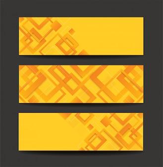 Modernes gelbes quadratisches gradientenbanner