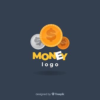 Modernes geldlogo mit flacher bauform
