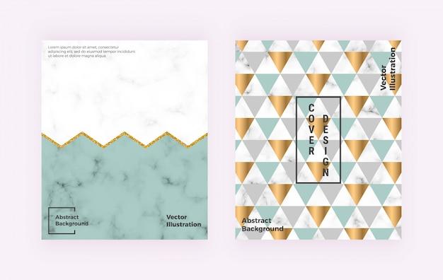 Modernes geometrisches design mit marmorstruktur, bunten dreiecken, glitzerlinien.