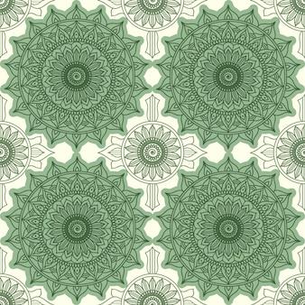 Modernes geometrisches nahtloses muster. blumendekoration, verzierung rund