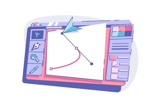 Modernes gerät mit grafischer vektorillustrationsschnittstelle mit dem zeichnen des flachen stilwerkzeugs für das malen von kreativität kunst- und technologiekonzept isoliert