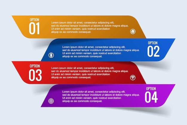 Modernes geschäft infographic-konzept mit fahnendesign mit 4 schritten
