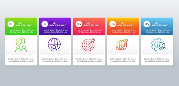 Modernes geschäft infographic mit 5 wahlschritten
