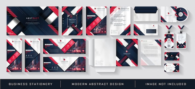 Modernes geschäftsausstattung und corporate identity template set red blue navy abstract
