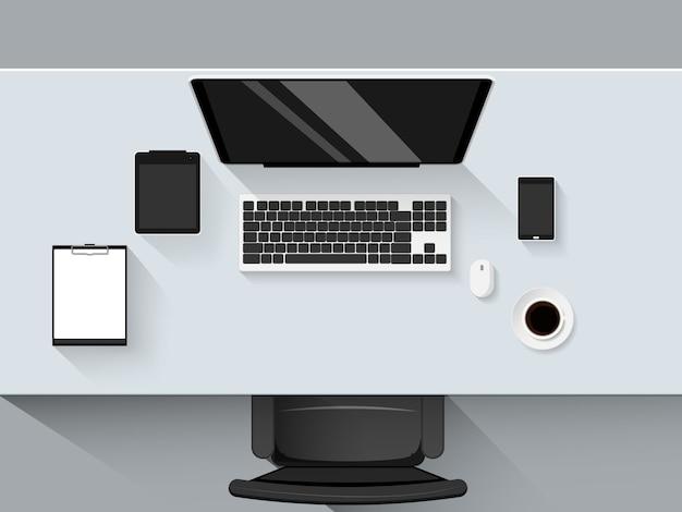 Modernes geschäftsbüro und arbeitsplatz