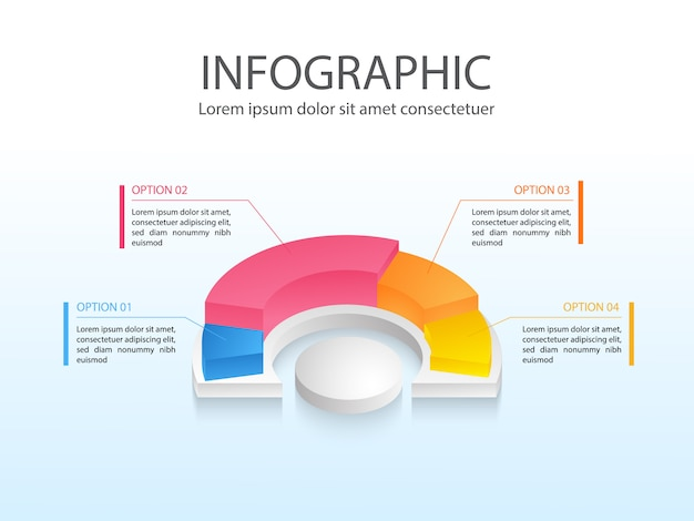 Modernes geschäftsdiagramm infografik mit buntem halben kreisdiagramm vierteilig und platz für text