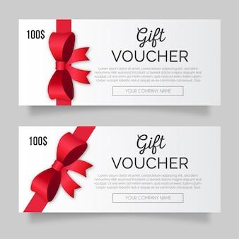 Modernes geschenkgutscheinpaket mit roter schleife