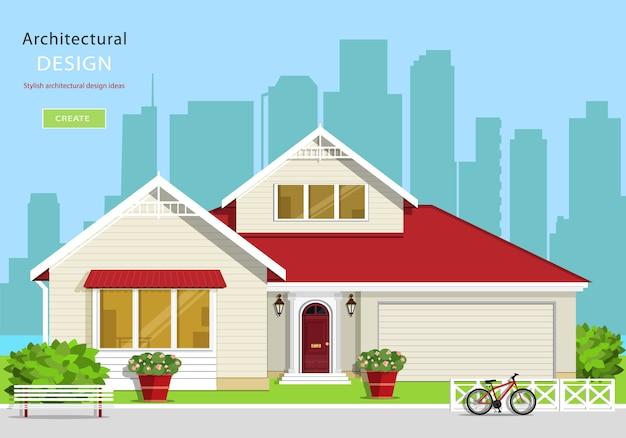 Modernes grafisches architekturdesign. buntes set: haus, bank, hof, fahrrad, blumen und bäume. flache artvektorillustration.
