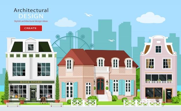 Modernes grafisches architekturdesign. niedliche europäische gebäude: privathäuser, café und geschäfte. hausfassaden. flache artillustration.