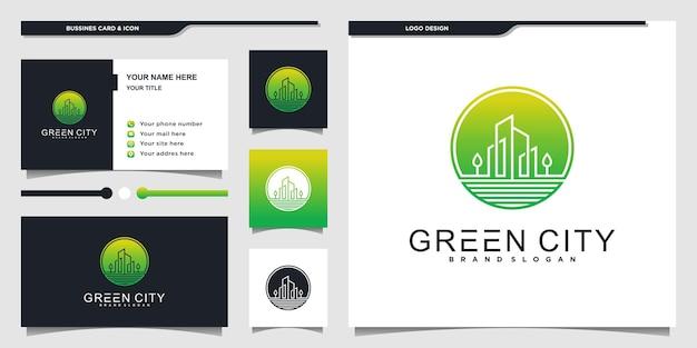 Modernes grünes stadtlogo mit kreisförmigem linienkunststil und visitenkarten-designvorlage premium-vektor