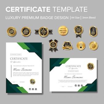 Modernes grünes zertifikat mit abzeichen mehrzweck