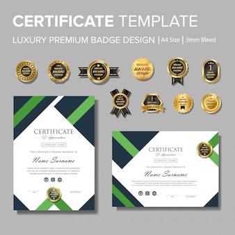 Modernes grünes zertifikat mit abzeichen