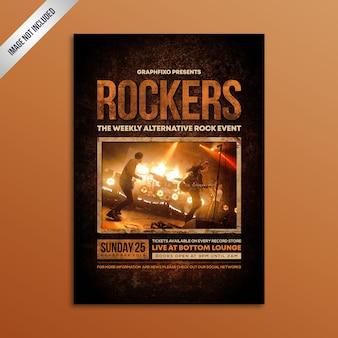 Modernes grunge-rockmusik-konzert-plakat