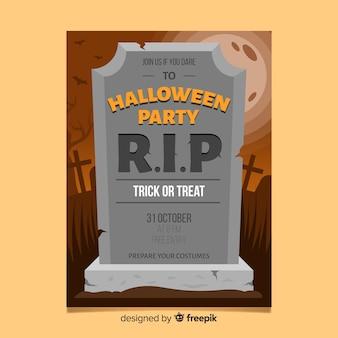 Modernes halloween-partyplakat mit flachem design