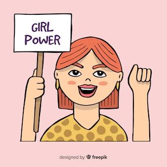 Modernes Hand gezeichnetes Feminismuskonzept