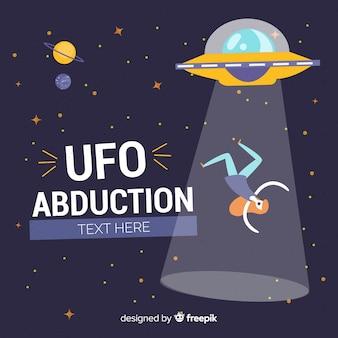 Modernes hand gezeichnetes ufo-abduktionskonzept