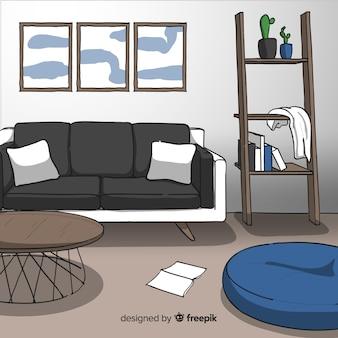 Modernes hand gezeichnetes wohnzimmer