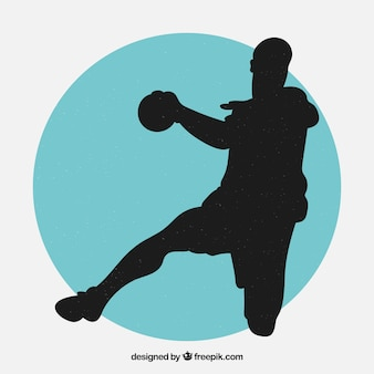 Modernes handballspielerschattenbild