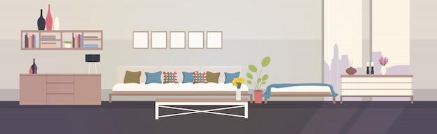Modernes hauptwohnungsdesign leer keine leute wohnzimmerinnenraum horizontal