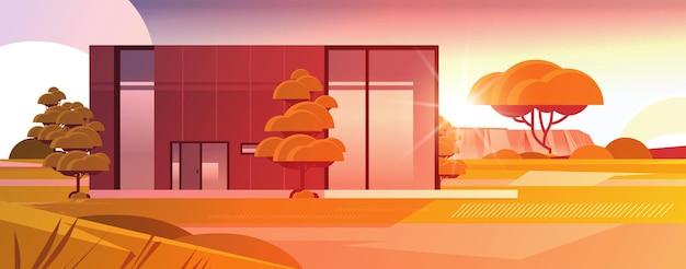 Modernes haus aus sandwichpaneelen mit großen panoramafenstern zeitgenössisches umweltfreundliches hausbau modulares wohnkonzept sonnenuntergang landschaft hintergrund horizontale vektorillustration